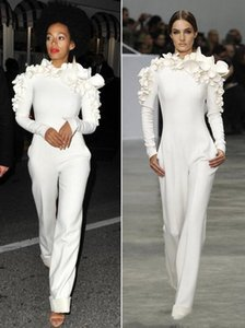 2019 New Arrival Celebrity Dresses White Leg Jumpsuit Long Sleeves High Neck with Flowers Formal Party Evening Dresses Custom Made 014 on Sale