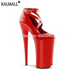 Wholesale KALMALL Runway Sexy Ladies Pole Dancing Pumps Shiny Red White Black Stripper Shoes Inch cm Cross Strap Platform High Heels