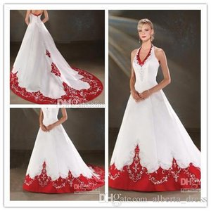 Wholesale 2019 hot sale White and Red A line Halter V Neck Embroidered wedding dresses Bodice Satin Chapel Train Wedding Dress Bridal Gowns