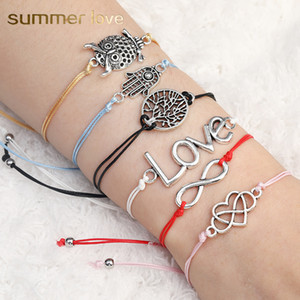 Wholesale infinite love resale online - Handmade Color Wax Rope Braided Charm Bracelet For Women Men Infinite Heart Love Fatima Hand Tree Owl Pendant Bracelet With Wish Card