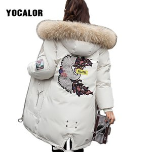 Wholesale Large Sizes Embroidered Winter Long Coat Warm Quilted Jacket Women Thick Parka Outerwear For Snow Wear Raccoon Fur Hood Overcoat