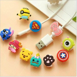 Wholesale Multi Patterns Cartoon USB Cable bite Earphone Protector Headphones Line Saver For Mobile Phones Tablets Charging Cable Data Cord protective