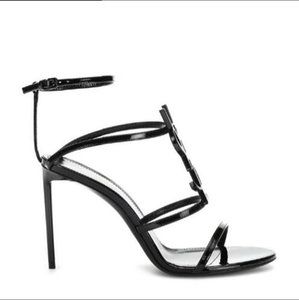 2019 top quality luxury designer style patent leather stiletto stiletto women's unique alphabet sandals wedding dress shoes sexy shoe box 05