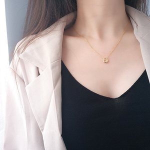 Wholesale small round pendant necklace resale online - 925 Sterling Silver Small Hollow Round Pendant Necklace Polished Statement Gold Chain Necklace For Elegant Women Girlfriend Gift