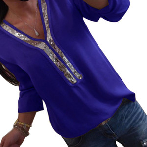 Wholesale Spring Women Fashion V Neck Bling Sequin Patchwork Long Sleeves Tops Shirt Long Sleeve Female Casual Blusas Blouse Tee Vest