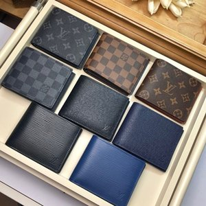 fashion white letter words canvas men short wallet with box women Genuine Leather square wallet purse women cardholder N M62046