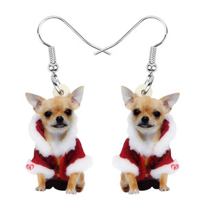 presentes natal adolescente venda por atacado-Cão da chihuahua acrílico Natal doce brincos Dangle Animal de Estimação Jóias Para Mulheres Meninas Adolescentes partido do presente Acessório