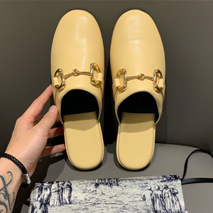 Wholesale italian shoes yellow for sale - Group buy 2020 womens Princesstown yellow real leather mules flat heels Italian fashion luxury designer shoes size to