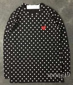 Wholesale Harajuku Men Women Black red heart DES play GARCONS CDG embroidery Heart long Sleeve stripe T shirts Embroidery Red Heart tops tee hoodies
