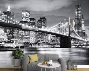 Wholesale wall stickers cities resale online - beibehang d wallpaper wall behangWall Sticker Wallpaper New York Bridge City Black and White Landscape d Mural Background Wall