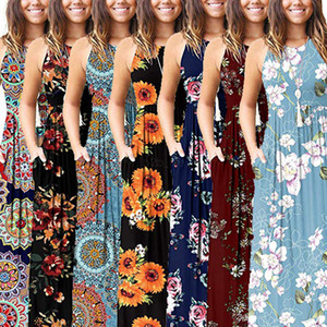 Wholesale Floral Bohemian Maxi Dress styles Summer Ladies flower Print Beach Bohemian sleeveless Dress Vintage Maternity Pocket Dress LJJA2326