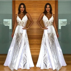 Wholesale Delicate White Lace Tulle Summer Boho Party Dresses A Line Spaghetti Strap Backless Long Bridal Reception Gowns Sleep Gown Cheap