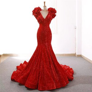 Wholesale Red High end Deep V Neck Sleeveless Evening Dresses Graduation Dresses Sexy Slim Sequined Mermaid Bridal Gowns Real Picture