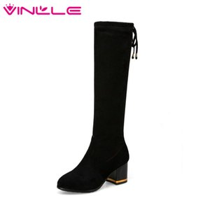 Wholesale VINLLE Women Shoes Knee High Boots Flock High Heel Classic Lace Up Pointed Toe Black Ladies Motorcycle Shoes Size