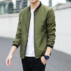 Wholesale Men s Bomber Jacket Spring Autumn Casual Baseball Jackets Fashion Korean Harajuku Slim Black Windbreaker Coats Clothes XL