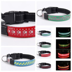 Wholesale New style L S M size stylish dog and cat necklaces with leather Led collars pet collars glow collars pet leash T2I5117