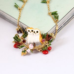 Wholesale Juicy Grape France Enamel Owl Series Snow Owl Crystal Pine Needles Sweater Chain Woman Gilded Party Necklace Fashion Jewelry