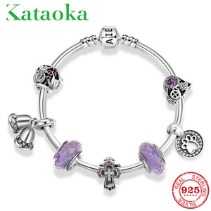 Wholesale Top Quality Sterling Silver CZ glass Bead Bangles Jewelry Cross purple Murano Glass Bead Pendant Charm Bracelet Jewelry