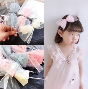 Wholesale Girls lace Bows hair sticks kids stars mermaid shell applique princess headband children big lace gauze Bows pageant hairbands F9314