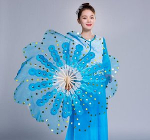 Wholesale Korea Dance Plum Blossom Hand Fan Chinese Traditional Yangko Dance Fan Pairs Crystal Fabric For Adults Pink