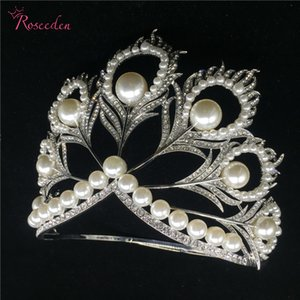 Hot actual size Miss Universe Pageant Crown rhinestone pearls feather full circle round big Crowns tiaras RE484C SH190927