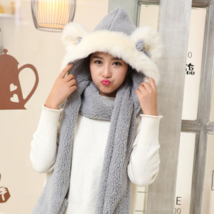 Wholesale Ladies Faux Fur Winter Warm Fluffy Hood Scarf Hat Snood Pocket Hats Gloves Ears