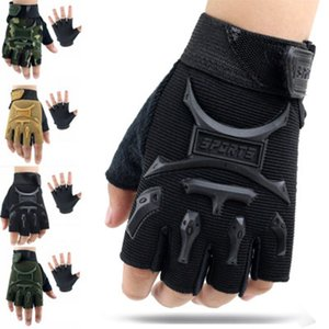 Wholesale Cycling fingerless gloves Years Kids Army Tactical Fingerless Gloves Anti Skid Half Finger Mitten Bike Children kids protector ZZA679