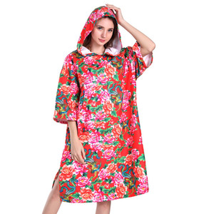 Floral Bathrobe Quick-Dry Changing Robe Bath Towel Outdoor Adult Hooded Beach Towel Superfine fiber Poncho Bathrobe