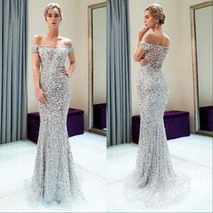 Wholesale Off The Shoulder Major Beaded Mermaid Long Evening Celebrity Gowns 2019 Tulle Beaded Sequins Floor Length Formal Party Prom Dresses
