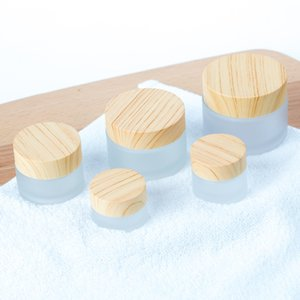 Frosted Glass Jar Cream Bottles Round Cosmetic Jars Hand Face Packing Bottles 5g 10g 15g 30g 50g Jars With Wood Grain Cover on Sale