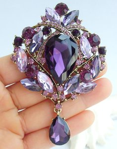 Wholesale Luxury quot Purple Rhinestone Crystal Teardrop Brooch Pin Pendant EE04082C7