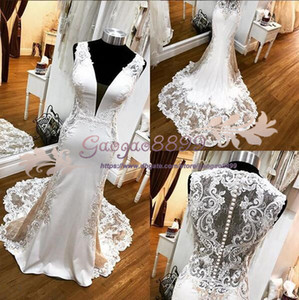 Wholesale 2019 Bohemian glamorous white mermaid lace see through wedding dresses with appliques boho sweep train sexy deep v neck formal bridal gowns
