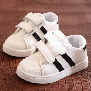 Wholesale Children Shoes Girls Boys Sport Shoes Anti Slip Soft Bottom Kids Baby Sneaker Casual Flat Sneakers White Shoes Size Free