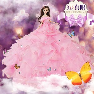 3d Really Eye Facelift Suit Bride Wedding Dress A Doll Fashion Bride Doll Can Exchange House Dress Toys Suit