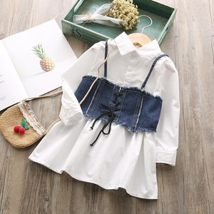 Wholesale 2018 autumn item girl long sleeve dress+jeans vest kids clothing girl fashion suit 2pcs per