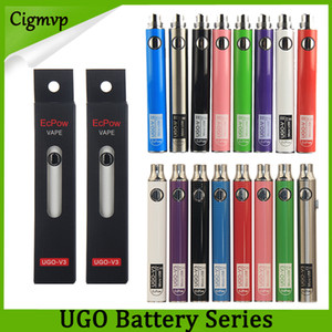 Wholesale Authentic Evod UGO mAh mAh Ego Battery colors Micro rough USB Charge Pass though E cig Pen Vape Battery Vs Vision Spinner Law