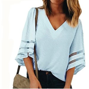 good quality 2019 Female Sexy V Neck Loose Chiffon Blouse Skirt Women Summer Long Sleeve Office Tulle Blosues Tops Polo Shirts Womens