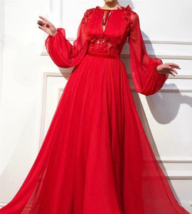 Wholesale 2019 Elegant Red Prom Dresses A-Line Floor Length Full Sleeves Lace Appliques Long Evening Dress Formal Gown robe de soiree Graduation Dress