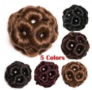 Wholesale Female Wig Hair Ring Curly Bride Makeup Diamond Bun Flowers Chignon Hairpiece