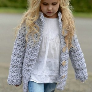 Retail kids jackets baby Fashion knitted sweater single-breasted cardigan baby girls coat outwear children clothing boutique clothes