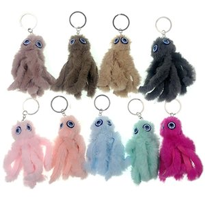 Wholesale Cute Octopus Keychain Pompom Key Chains As Jewelry Fur Ball Key Chain Fluffy Pom Pom Keyring For Women Car Bag Ring