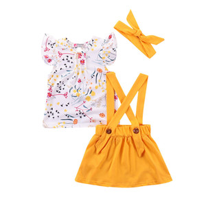 2019 Summer kids outfits baby girls flower t shirt + strap Skirt +headband 3 pcs set kids desigener clothes M026 on Sale