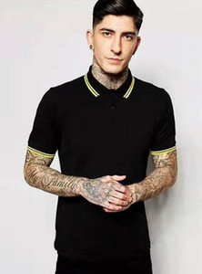 Hot Sale Men Classic Perry Polo Shirts Cotton Leaf Embroidery High Quality Summer Casual Polos Striped Collar London Fred Tees Tops Black