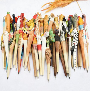 Wholesale Handmade Animal carved wood pen Cute creative Flamingo Writing Pen Ball Point Wooden Novelty Gift School Stationary Ballpoint toys LA07