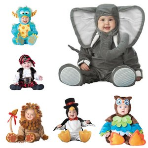 Wholesale Baby Boy Girls Animal Cosplay Rompers Toddler Carnival Halloween Outfits Boys Shape Costume For Girls Jumpsuits Infant Clothes MX190720