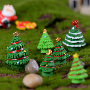 Wholesale 1PCS Christmas Tree Miniature Figurine Doll Mini Christmas Decoration Fairy Garden Moss Micro Landscape Ornaments Resin Crafts Decorations