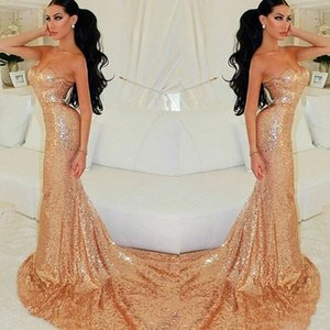Cheap Sequined Prom Dresses Long 2019 Mermaid Strapless Appliques Formal Evening Gowns Sequin Cocktail Party Ball Bridesmaid Dress on Sale