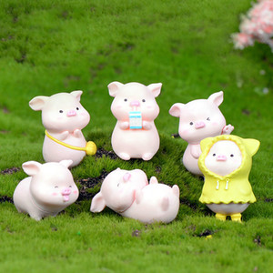 Wholesale Miniature Fortune Pig Mini Cartoon Animal Decorative Craft Ornaments Keychain Accessory Micro landscape Fairy Garden Decoration DIY Material
