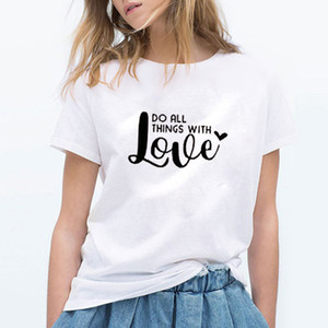 Wholesale EnjoytheSpirit Trendy Tees Valentines Day Shirt for Adults Womens Do All Things with Love Graphic Unisex Cotton