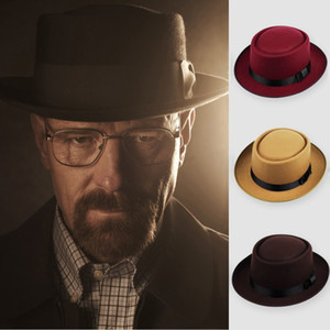 Unisex women men imitation wool hat fedora Felt Pork Pie Crushable winter Hat Dance panama Hat